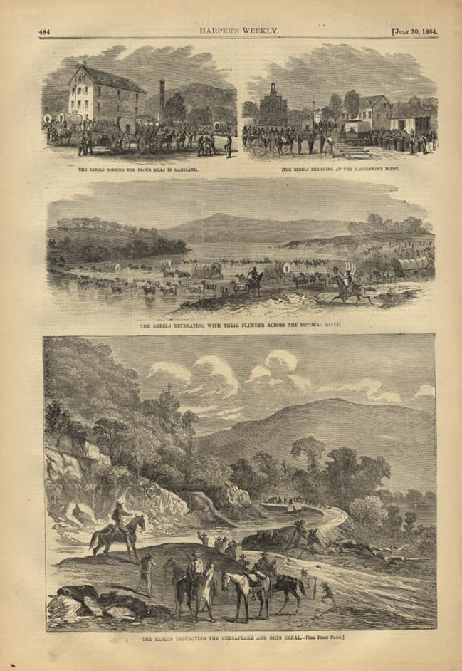 Image for HARPER'S WEEKLY page 7/30 1864 Rebels burn pillage destroy canal in retreat