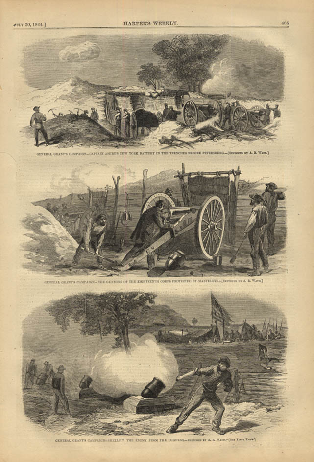 Image for HARPER'S WEEKLY page 7/30 1864 Ashby's NY Battery; 18th Corps Gunners