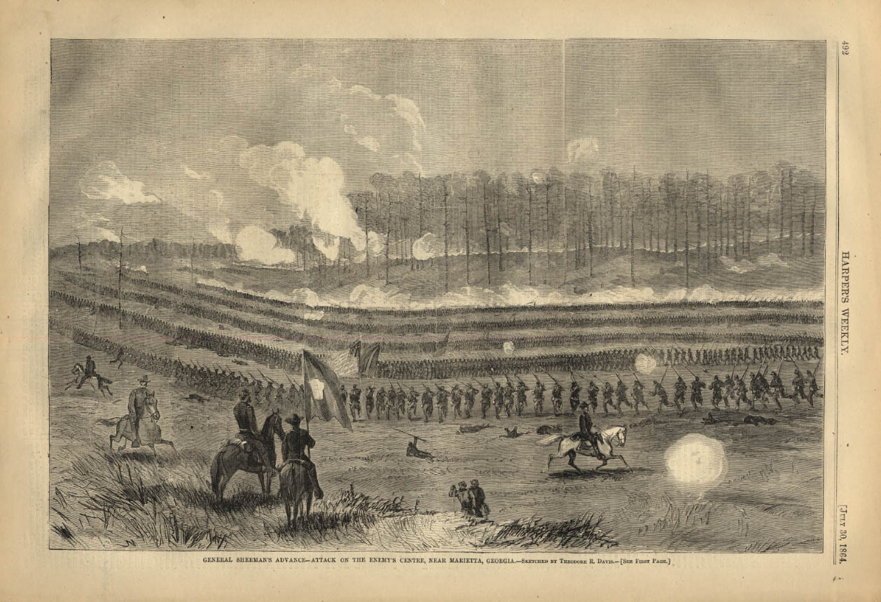 Image for HARPER'S WEEKLY page 7/30 1864 Gen Sherman attack Ebemy Center Marietta Georgia