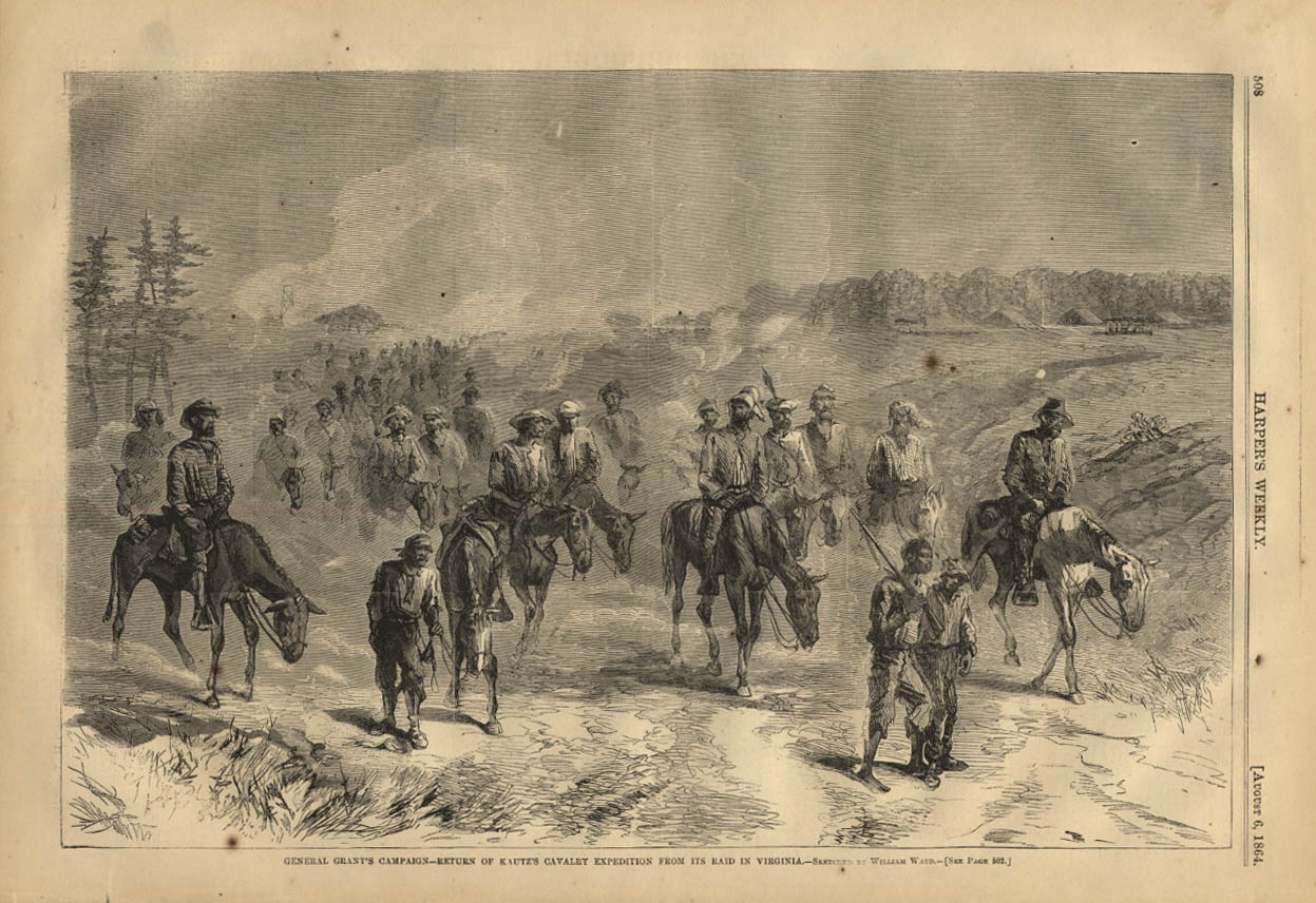 Image for HARPER'S WEEKLY page 8/6 1864 Gen Grant's Kautz's Cavalry Expedition in Virginia