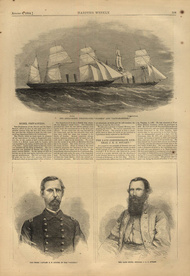 Image for HARPER'S WEEKLY page 8/6 1864 Rebel Ships Florida & Rappahannock & Captains