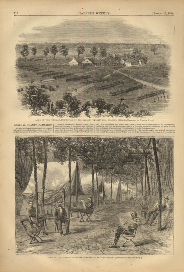 Image for HARPER'S WEEKLY page 8/13 1864 Gen Grant Campaign HQ; 2nd PA Col Gibson