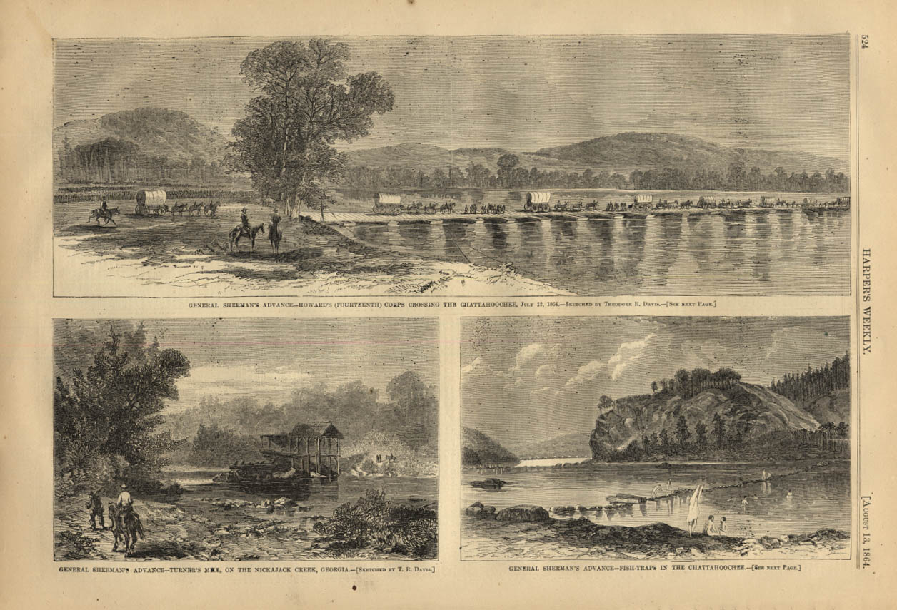 Image for HARPER'S WEEKLY page 8/13 1864 Howard's 14th at Chattahoochee & Nickajack Creek