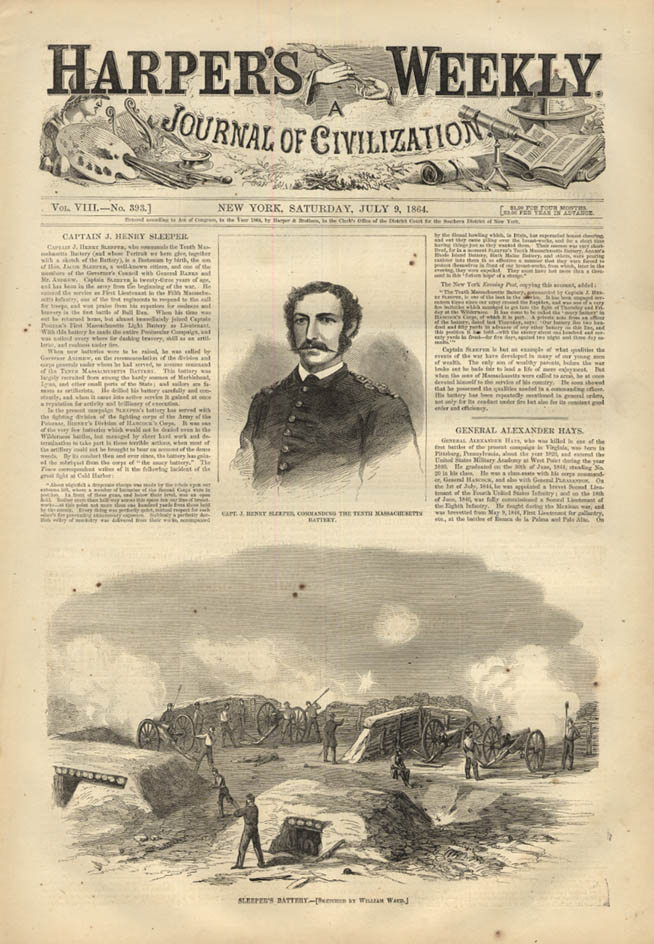 Image for HARPER'S WEEKLY page 7/9 1864 Capt J Henry Sleeper 10th Massachusetts Battery