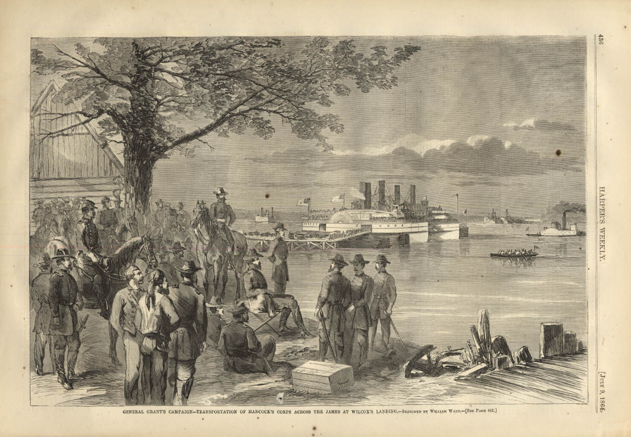 Image for HARPER'S WEEKLY page 7/9 1864 Gen Hancock's Corps cross at Wilcox's Landing