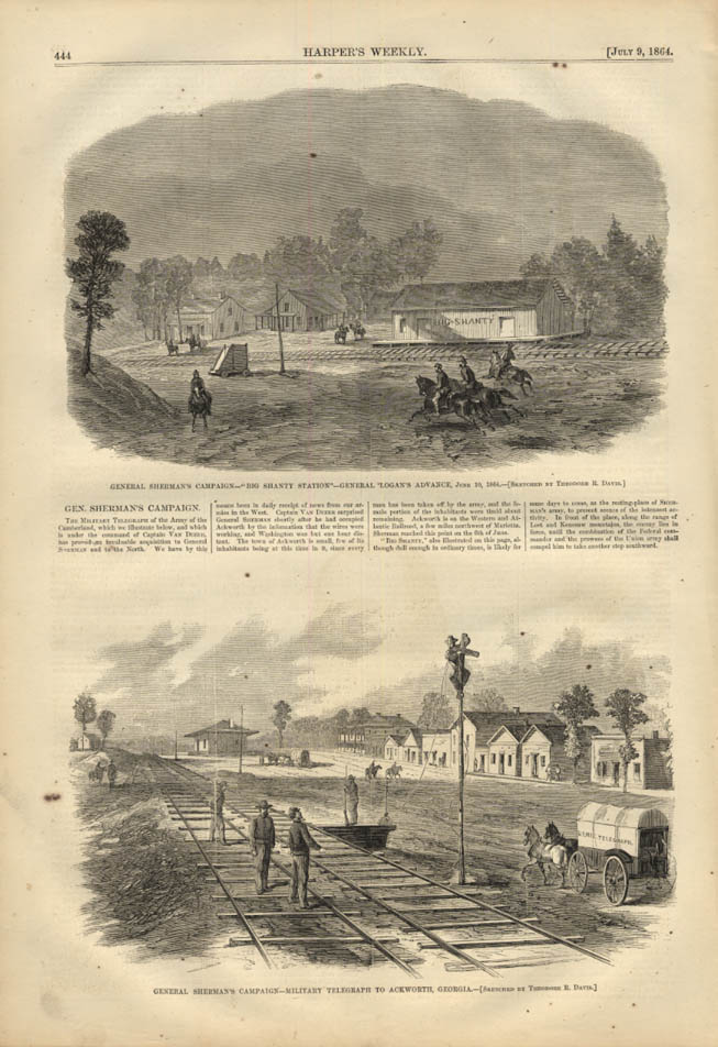 Image for HARPER'S WEEKLY page 7/9 1864 Gen Logan's Advance at Big Shanty; Ackworth GA