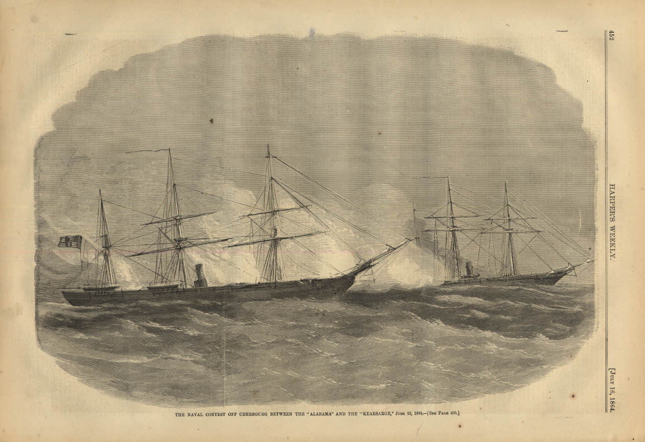 Image for HARPER'S WEEKLY page 7/16 1864 CSS Alabama vs USS Kearsarge at Cherbourg