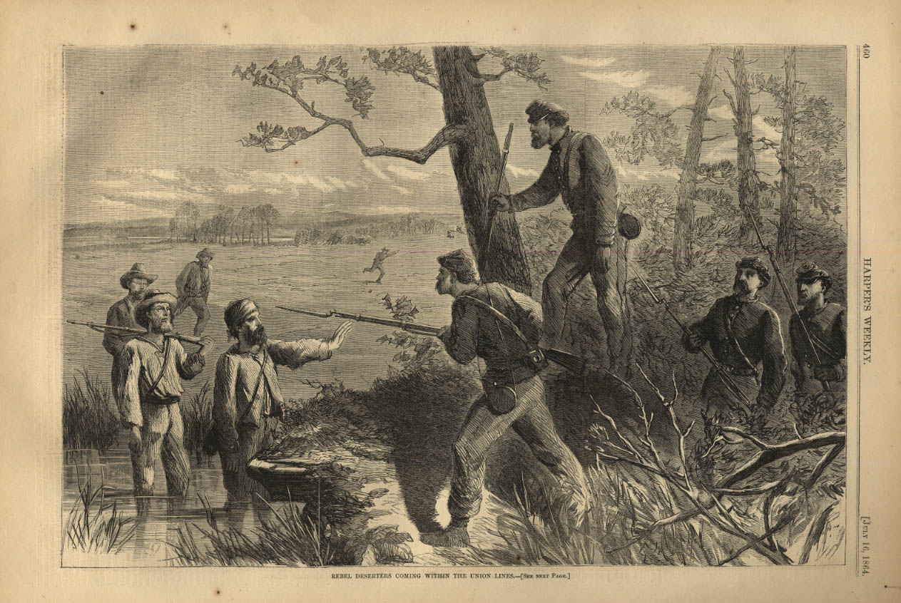 Image for HARPER'S WEEKLY page 7/16 1864 Rebel Deserters cross Union Lines