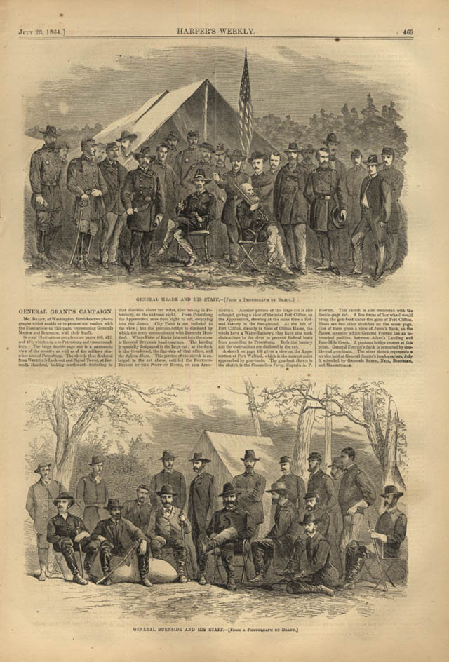 Image for HARPER'S WEEKLY page 7/23 1864 Gen Meade Gen Burnside & Staffs by Mathew Brady