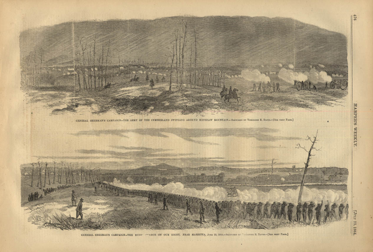 Image for HARPER'S WEEKLY page 7/23 1864 Army of Cumberland vs Rebel Charge Marietta GA