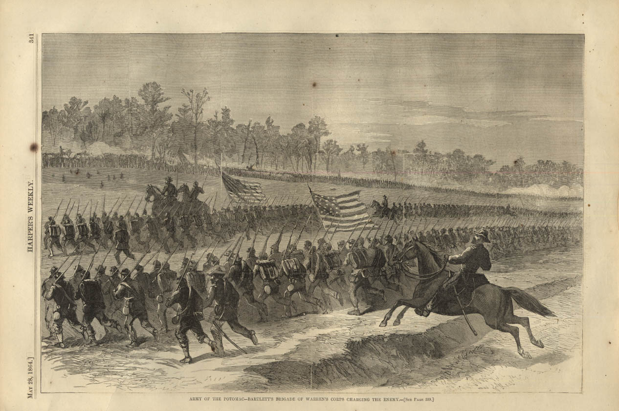 Image for HARPER'S WEEKLY page 5/28 1864 Bartlett's Brigade Warren's Corps charge rebels