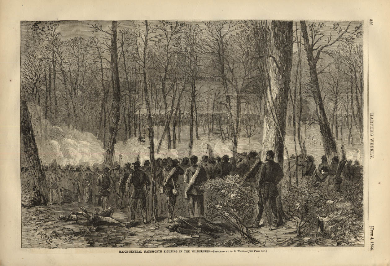Image for HARPER'S WEEKLY page 6/4 1864 Gen Wadsworth army fighting in the wilderness