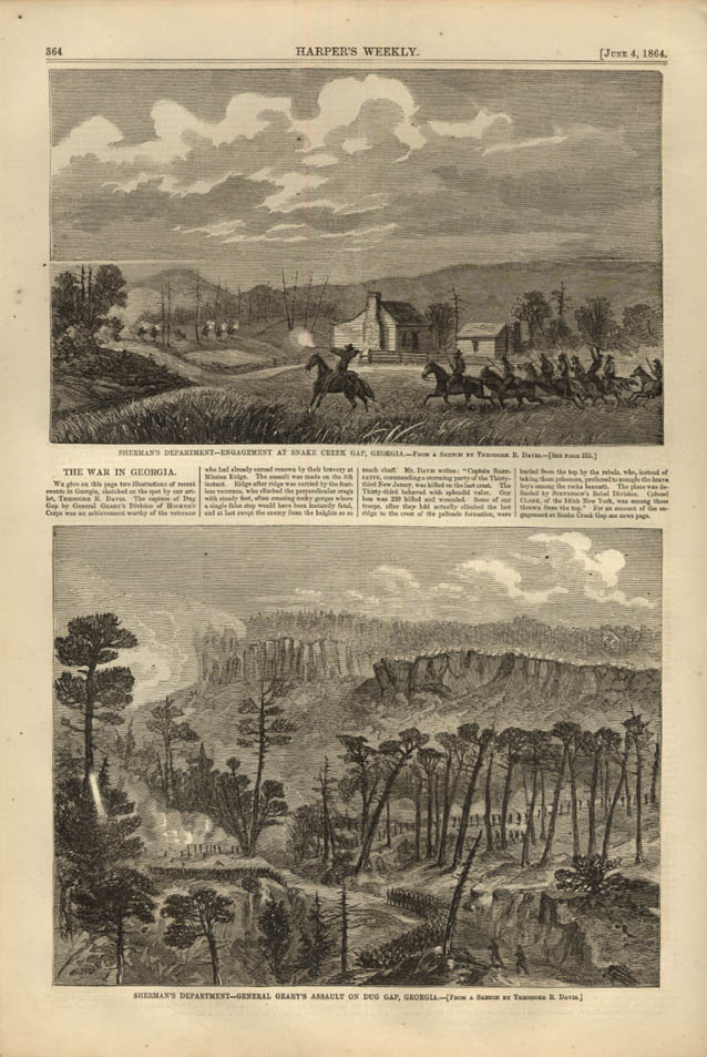 Image for HARPER'S WEEKLY page 6/4 1864 Gen Sherman & Gen Geary Snake Creek Gap & Dug Gap