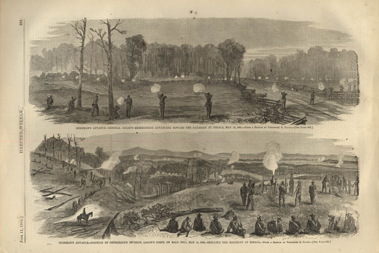 Image for HARPER'S WEEKLY page 6/11 1864 Gen Logan's Skirmishers at Resaca; Bald Hill