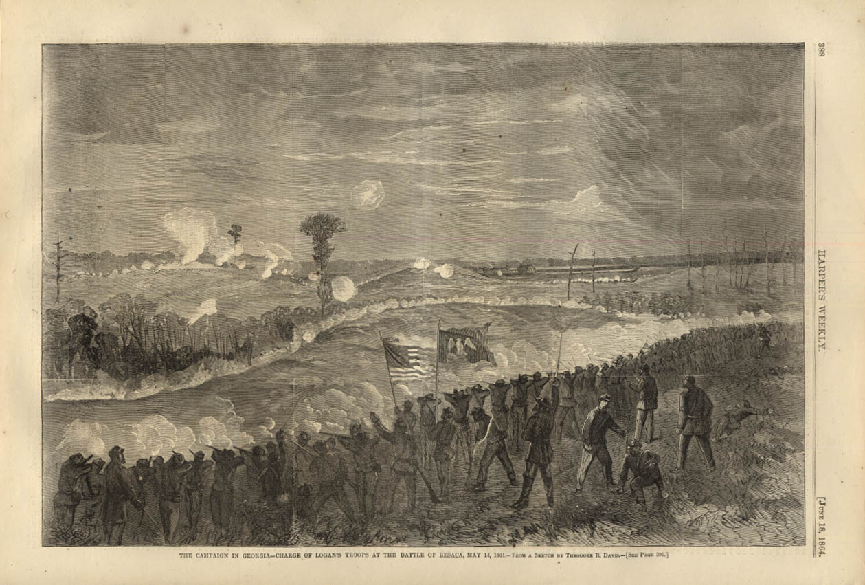 Image for HARPER'S WEEKLY page 6/18 1864 Logan's Troops charge at Resaca Georgia