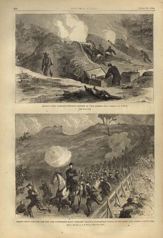 Image for HARPER'S WEEKLY page 6/25 1864 Stevens' Battery Cold Harbor; NY 14th North Anna
