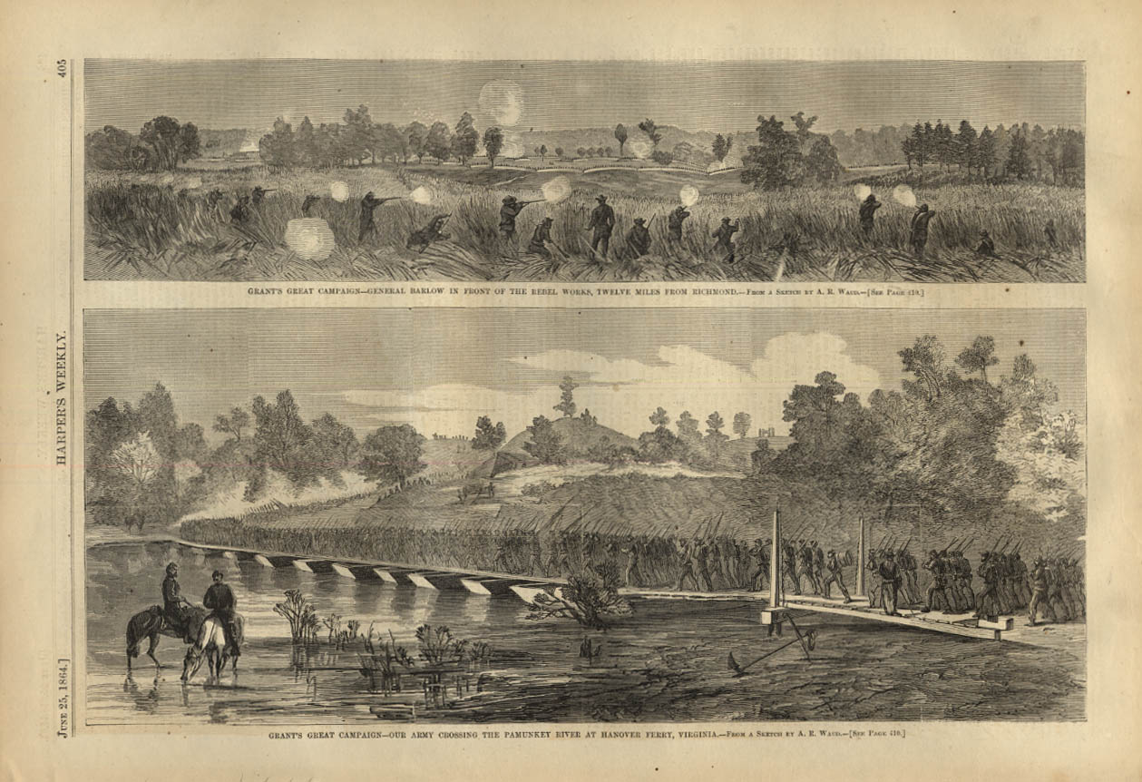 Image for HARPER'S WEEKLY page 6/25 1864 Gen Barlow at Richmond; cross Pamunkey at Hanover