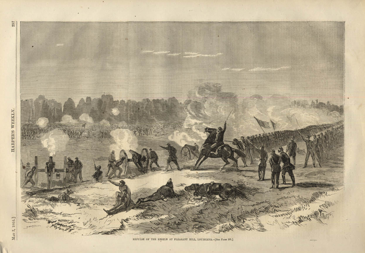 Image for HARPER'S WEEKLY page 5/7 1864 Repulse of Rebels at Pleasant Hill Louisiana