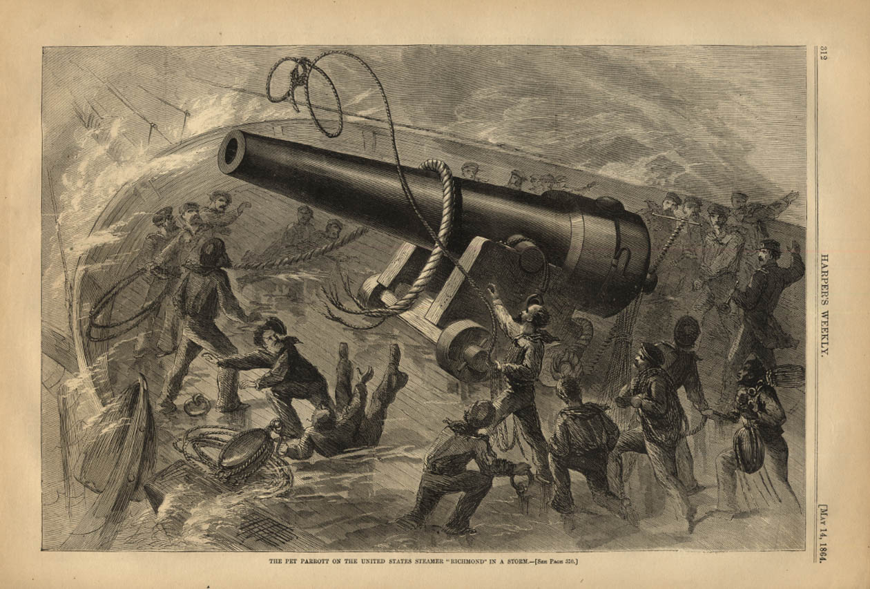 Image for HARPER'S WEEKLY page 5/14 1864 Pet Parrott Gun USS Richmond in a storm