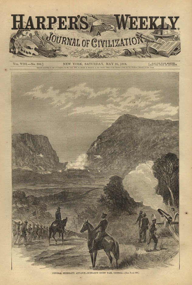 Image for HARPER'S WEEKLY page 5/21 1864 General Sherman at Buzzard's Roost Pass Georgia