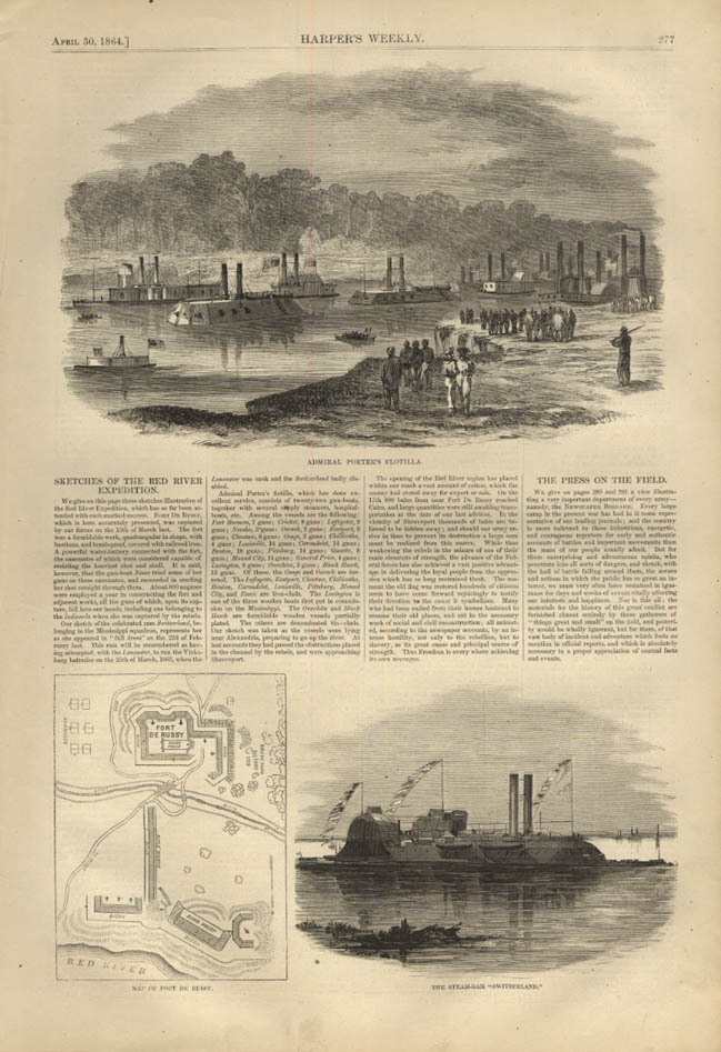 Image for HARPER'S WEEKLY page 4/30 1864 Adm Porter Flotilla at Red River Expedition