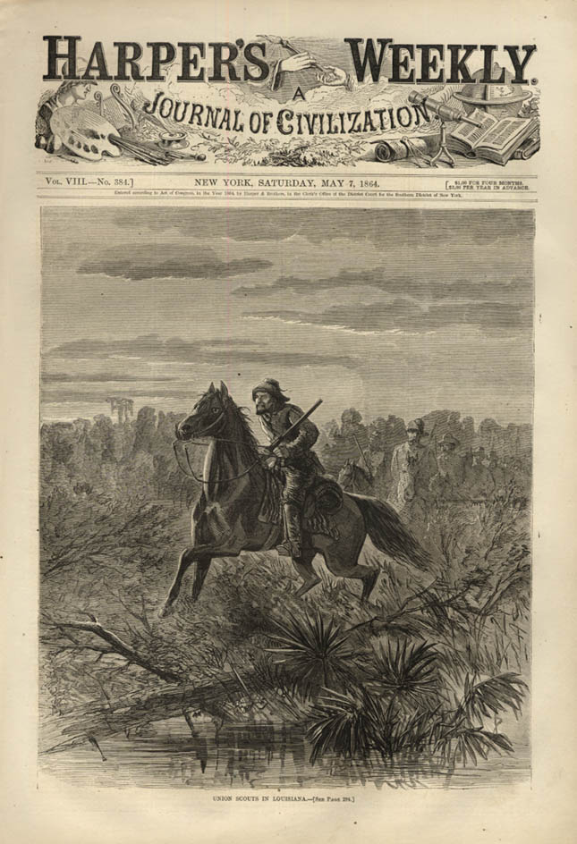 Image for HARPER'S WEEKLY page 5/7 1864 Union Scouts on horseback in Louisiana