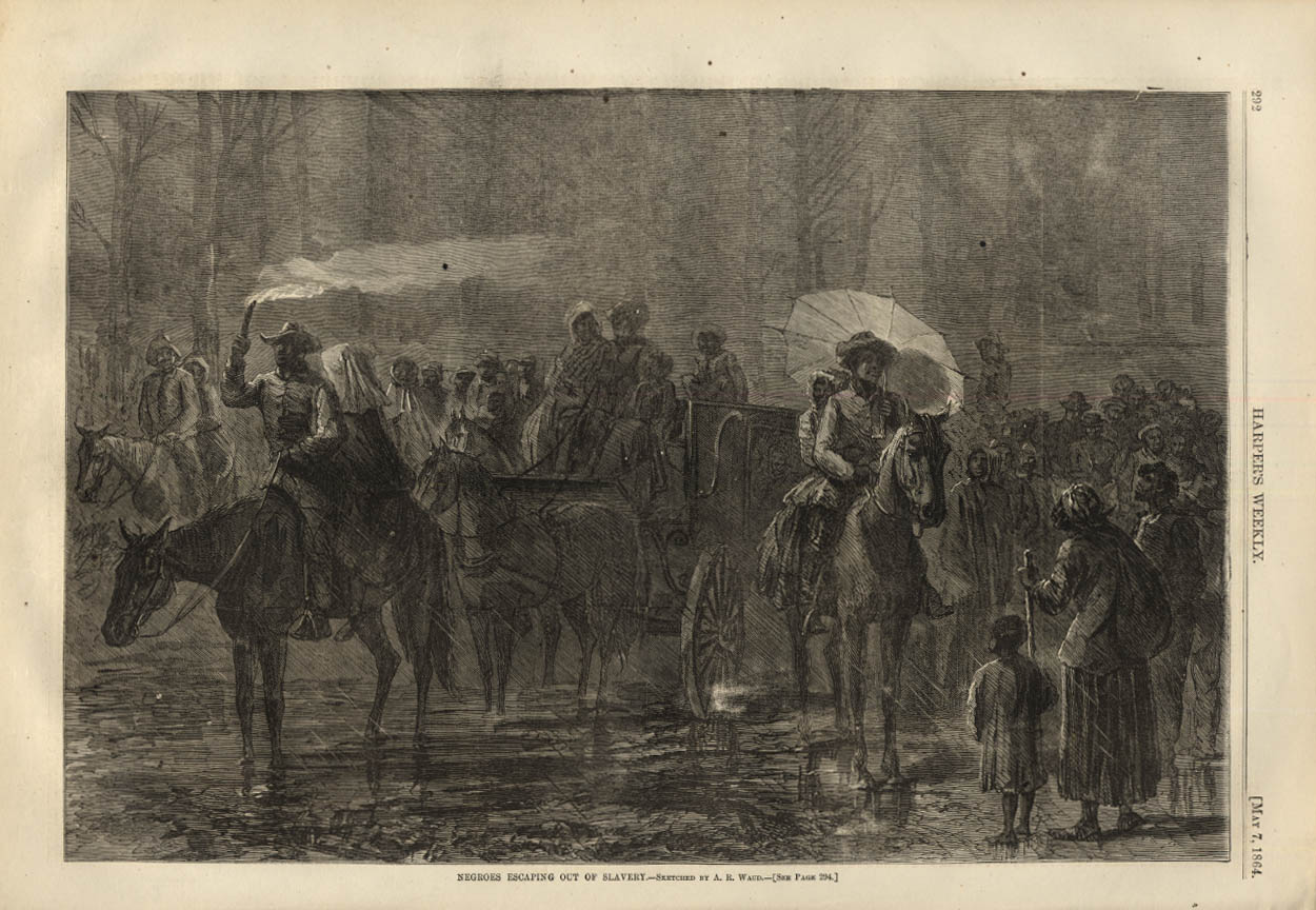 Image for HARPER'S WEEKLY page 5/7 1864 Negroes escaping out of slavery by A R Waud