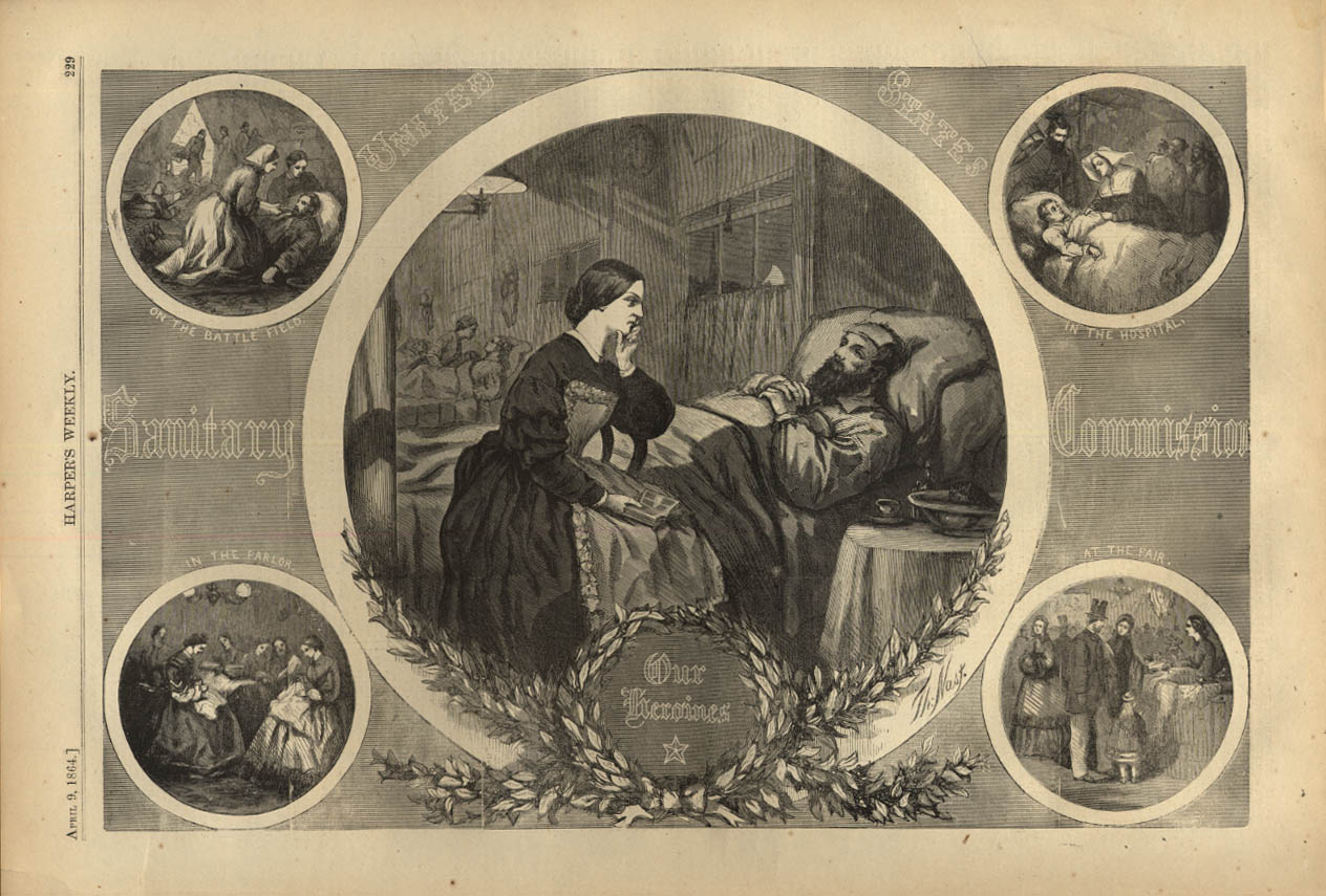 Image for HARPER'S WEEKLY page 4/9 1864 US Sanitary Commission Our Heroines by Thomas Nast