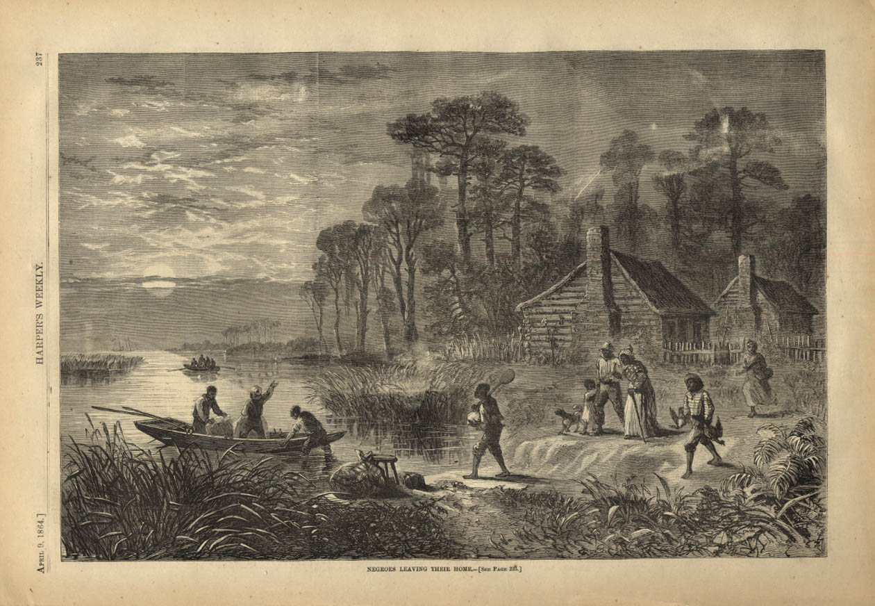 Image for HARPER'S WEEKLY page 4/9 1864 Freed Negroes Leaving Their Home
