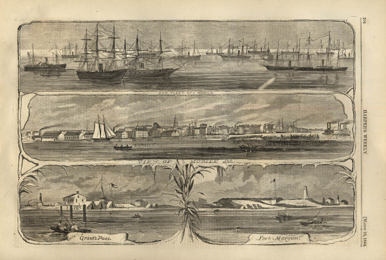 Image for HARPER'S WEEKLY page 3/26 1864 Union Fleet at Mobile & Fort Morgan