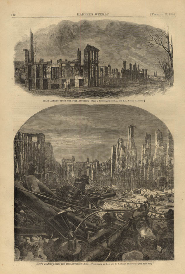 Image for HARPER'S WEEKLY page 2/27 1864 Aftermath of Fire at Colt's Armory Hartford CT