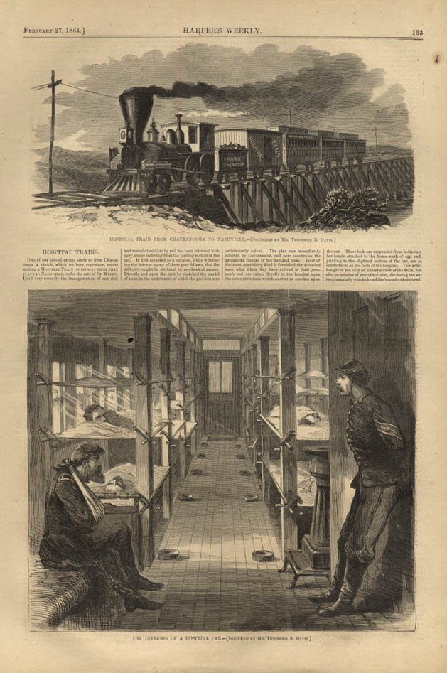 Image for HARPER'S WEEKLY page 2/27 1864 Union Hospital Train from Chattanooga - Nashville