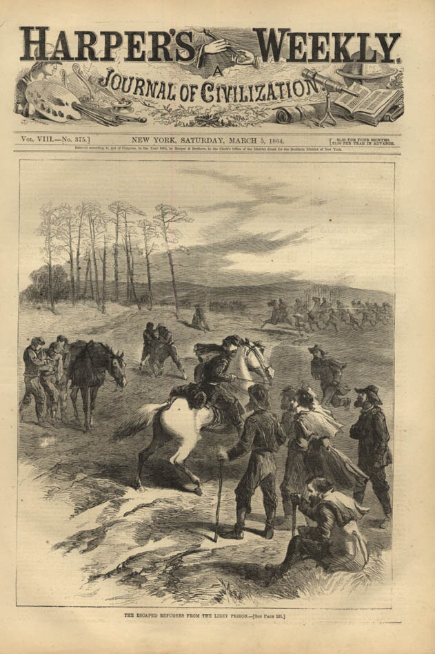Image for HARPER'S WEEKLY page 3/5 1864 Union Refugees Escaped from the Libby Prison