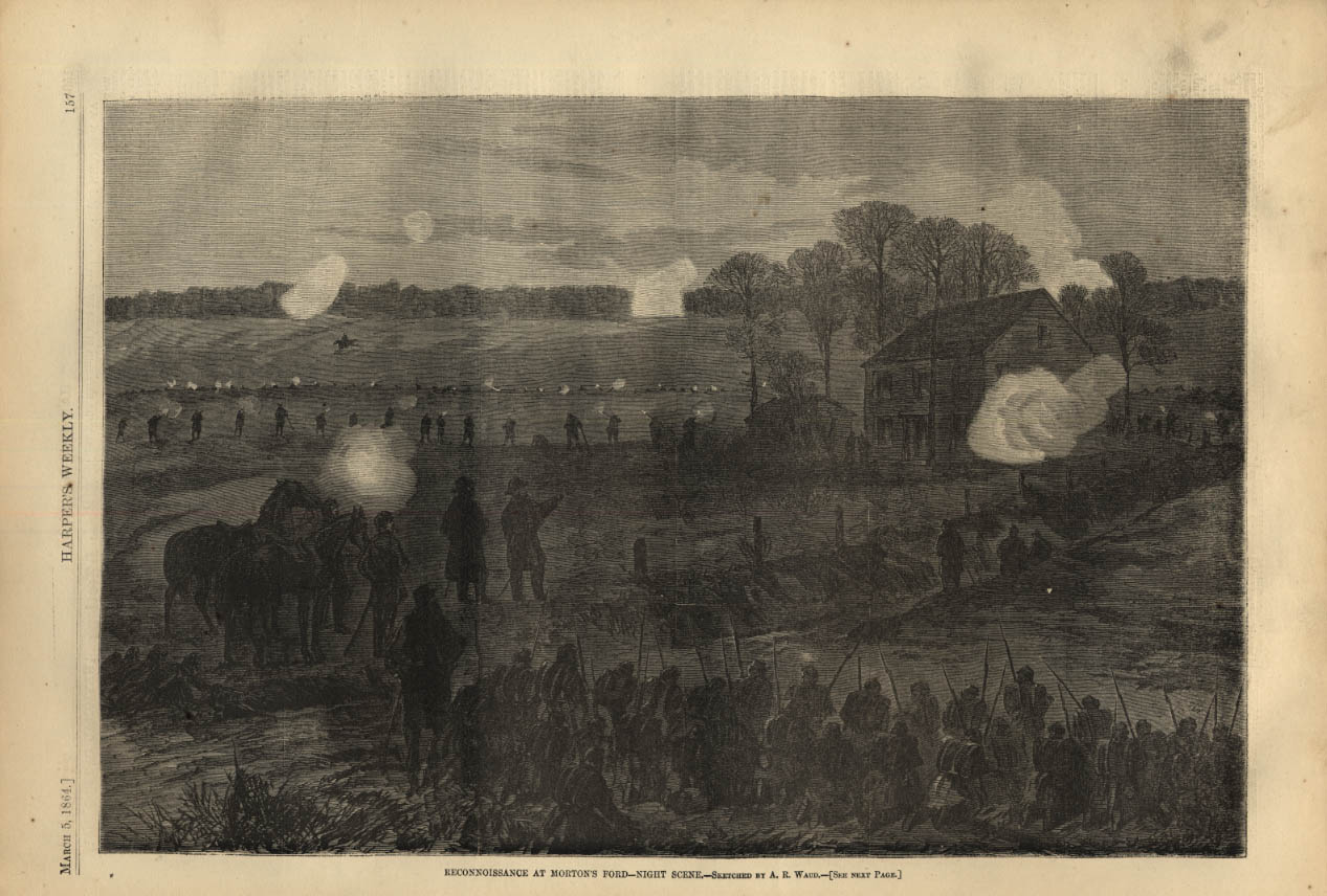 Image for HARPER'S WEEKLY page 3/5 1864 Night Reconnaissance at Morton's Ford