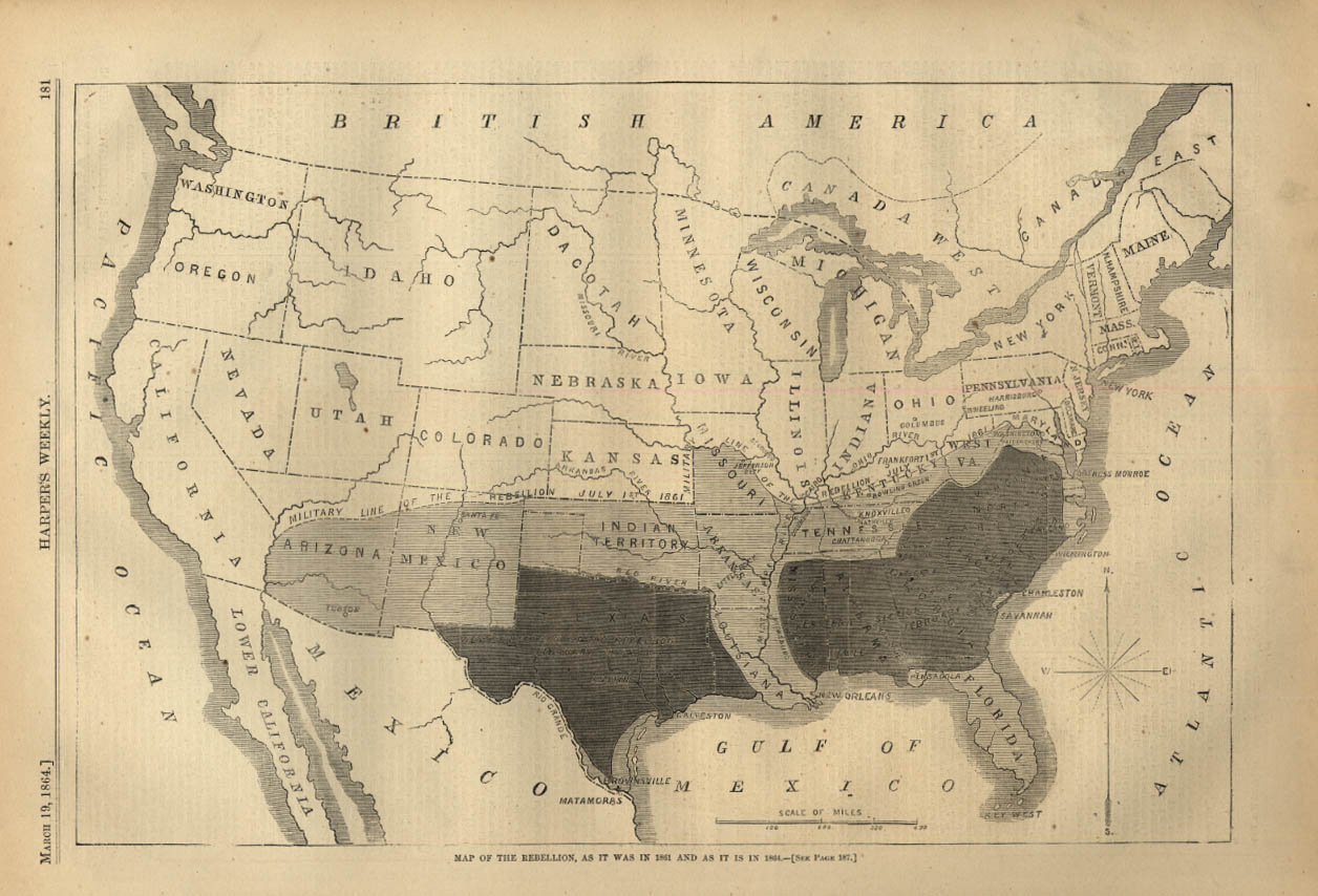Image for HARPER'S WEEKLY page 3/19 1864 Map of the Rebellion in 1861 & 1864