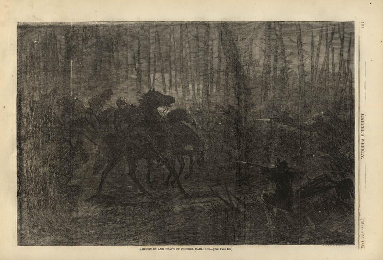 Image for HARPER'S WEEKLY page 3/26 1864 Ambuscade / Ambush of Colonel Ulric Dahlgren