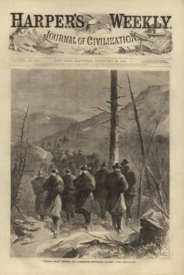 Image for HARPER'S WEEKLY page 2/20 1864 General Grant Crossing Cumberland Mountains