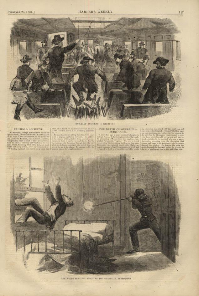 Image for HARPER'S WEEKLY page 2/20 1864 Negro Sentinel kills rebel guerrilla Burroughs