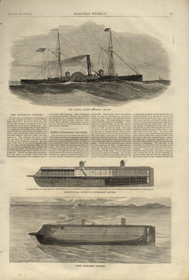 Image for HARPER'S WEEKLY page 1/30 1864 Gunboat USS Eutaw; Rebel Submarine Battery