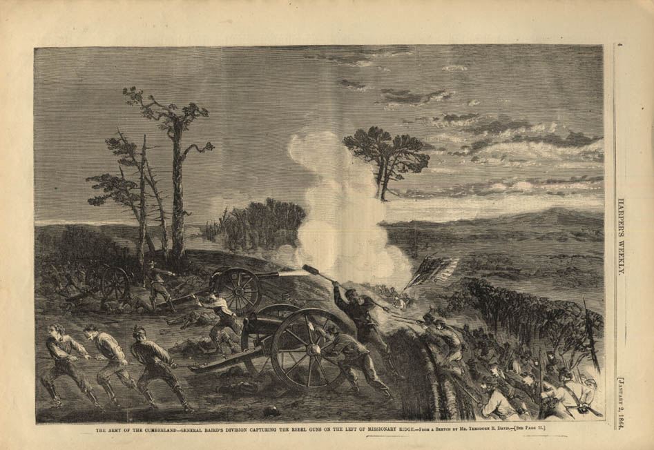 Image for HARPER'S WEEKLY page 1/2 1864 Gen Baird's Division takes Missionary Ridge guns
