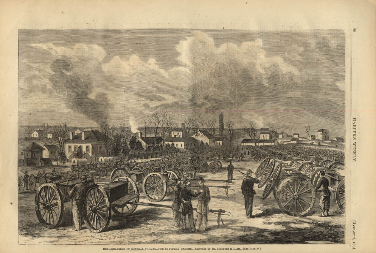 Image for HARPER'S WEEKLY page 1/9 1864 General Thomas HQ with Captured Cannon