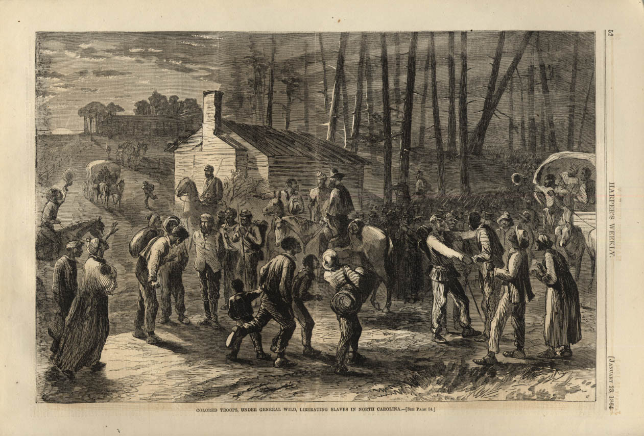 Image for HARPER'S WEEKLY page 1/23 1864 Gen Wild's Colored Troops Liberating NC Slaves