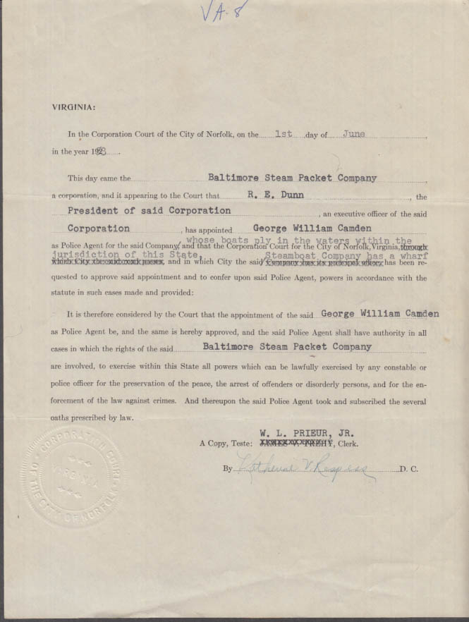 City of Norfolk VA Appointment of a Police Agent for Baltimore Steam Packet 1953