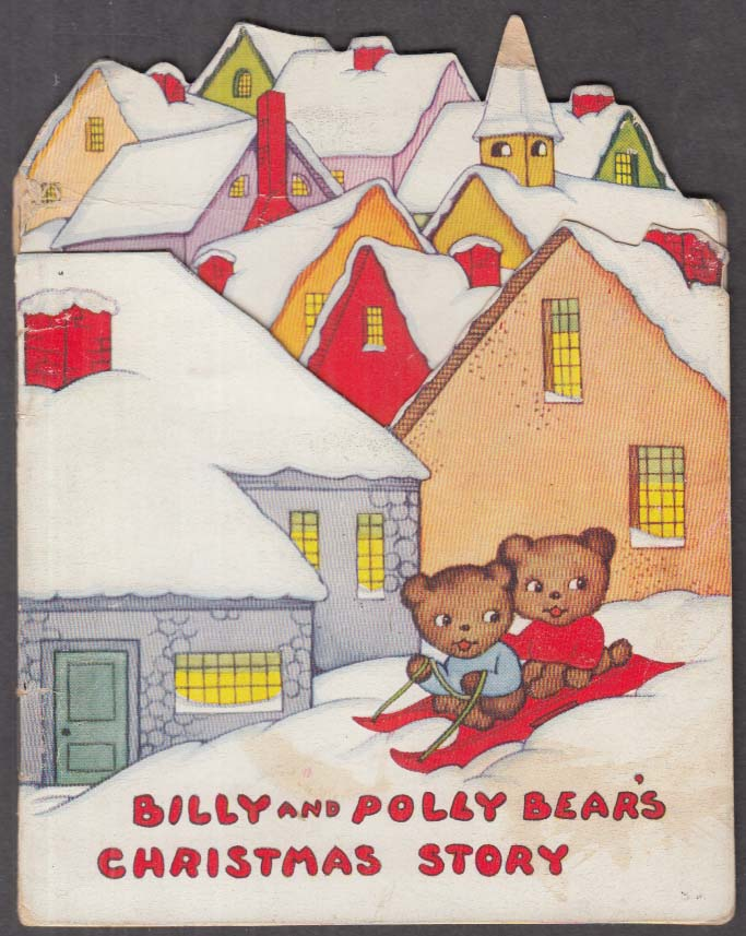 Billy & Polly Bear's Christmas Story greeting card ca 1930s