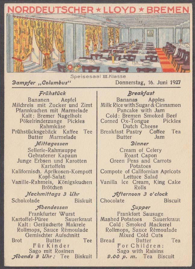 Image for Norddeutscher Lloyd Bremen S S Columbus Breakfast Menu postcard 6/16 1927