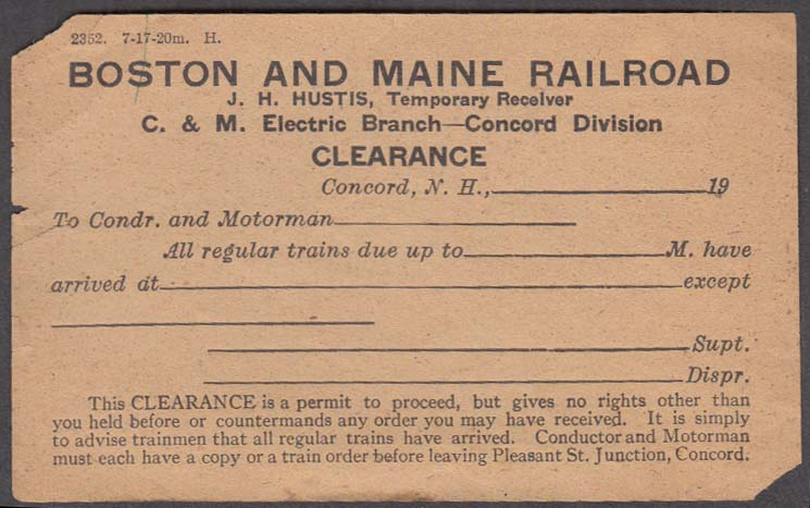 Image for Boston & Maine Railroad C&M Electric Branch Concord Division Clearance form 1917