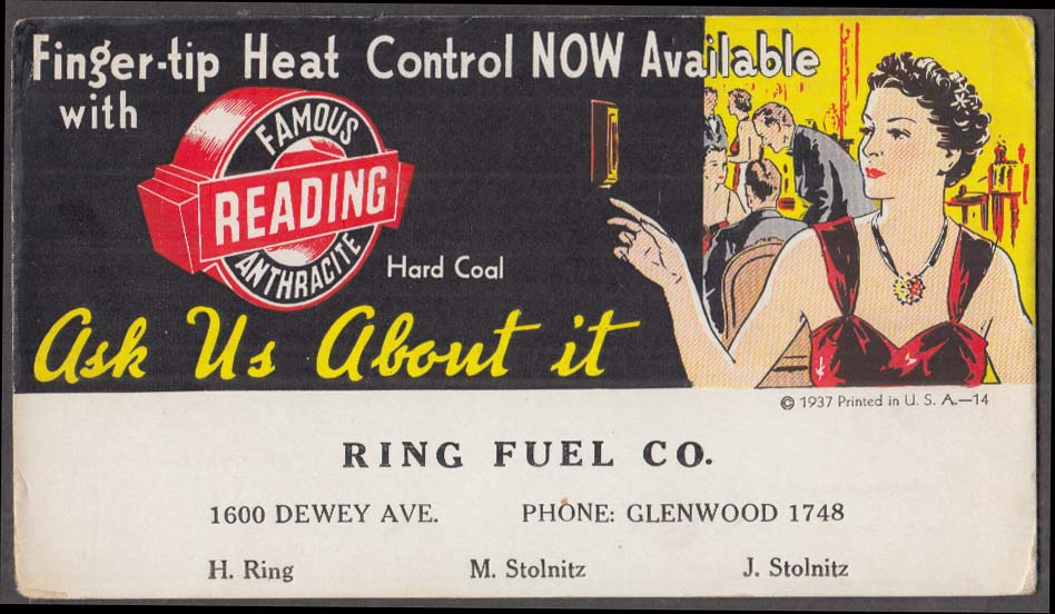 Image for Reading Coal Finger-tip Heat Control Ring Fuel blotter Rochester NY 1937