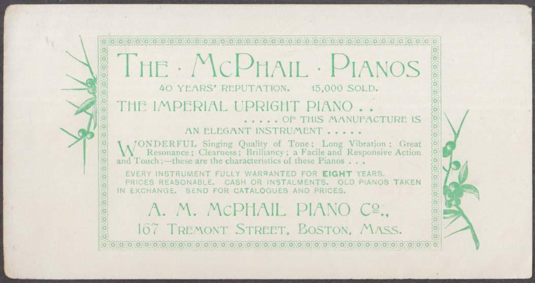 Image for A M McPhail Piano Company Boston MA trade flier ca 1878