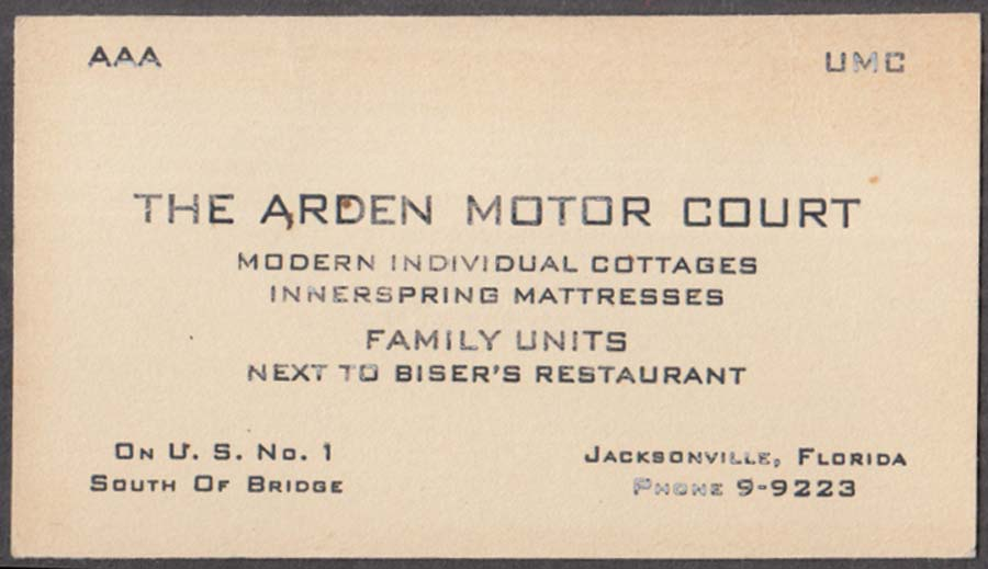 Image for The Arden Motor Court Jacksonville FL business card 1930s Next to Biser's