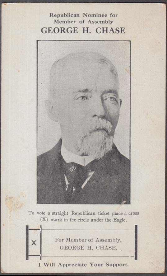 Image for Republican Candidate for New York Assembly George H Chase card 1914-16